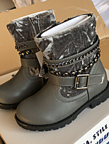cheap -Girls' Boots Combat Boots PU Little Kids(4-7ys) Big Kids(7years +) Walking Shoes Gray Fall Winter / Booties / Ankle Boots / Rubber