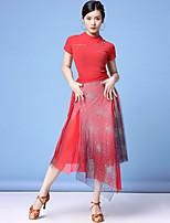 cheap -Latin Dance Top Split Pattern / Print Split Joint Women's Training Performance Short Sleeve Natural Nylon Mesh