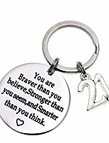 cheap -birthday gift happy birthday keychain, 10th 12th 13th 16th 30th, stainless steel birthday key ring gift women, men, friends family (21th you are braver than you believed)