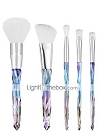 cheap -makeup brushes travel set  5pcs rainbow unicorn diamond shaped crystal shiny handle brush set premium synthetic 2018 winter new arrival for powder blush contours highlighter eye brushes black green