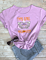 cheap -Women's Halloween T-shirt Graphic Prints Skull Letter Print Round Neck Tops 100% Cotton Basic Halloween Basic Top White Purple Red
