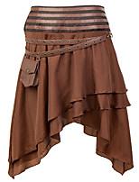 cheap -Pirate Victorian Steampunk Skirt Women's Flounced Asymmetric Hem Costume Maroon / Black Vintage Cosplay Halloween Masquerade Festival Asymmetrical / Skirts