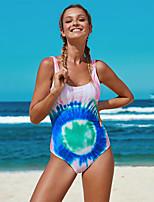 cheap -Women's Sexy One Piece Swimsuit Tie Dye Print Normal High Neck Swimwear Bathing Suits Rainbow