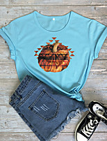 cheap -Women's Halloween T-shirt Graphic Prints Pumpkin Print Round Neck Tops 100% Cotton Basic Halloween Basic Top White Black Blushing Pink
