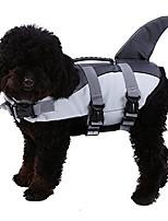 cheap -dog life vest shark,pet floatation jacket float coat, quick release lifesaver preserver swimming suit adjustable belt harness pool boat(s, grey)