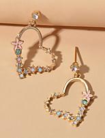 cheap -Women's Drop Earrings Heart Sweet Heart Romantic Earrings Jewelry Blue / Blushing Pink For Engagement Date
