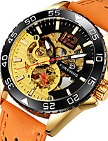 cheap -FORSINING Men's Mechanical Watch Automatic self-winding Vintage Style Casual Hollow Engraving Analog Black / Yellow White+Sky Blue White+Yellow / Two Years / Leather / Two Years