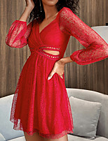cheap -Women's Sheath Dress Short Mini Dress - Long Sleeve Solid Color Zipper Spring Fall V Neck Casual Sexy Party Slim 2020 Red S M L