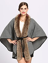 cheap -Women's Fall & Winter V Neck Cloak / Capes Regular Solid Colored Daily Basic Black Red Khaki Green One-Size