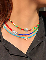 cheap -Women's Choker Necklace Beaded Necklace Handmade Mini Friends Star Starfish Blessed Unique Design Trendy Ethnic Fashion Imitation Pearl Glass Alloy Rainbow 43 cm Necklace Jewelry 3pcs For Street Gift