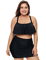 cheap -Women's Tankini Nylon Elastane Swimwear Breathable Quick Dry Sleeveless 2-Piece - Swimming Surfing Water Sports Solid Colored Summer / Stretchy / Plus Size