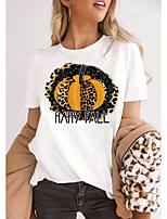 cheap -Women's Halloween T-shirt Leopard Graphic Prints Cheetah Print Print Round Neck Tops 100% Cotton Basic Halloween Basic Top White