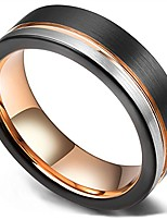 cheap -loop tungsten carbide wedding band 6mm rose gold line ring black and silver brushed comfort fit 11.5