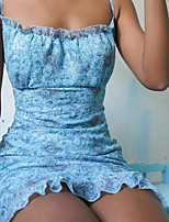 cheap -Women's Strap Dress Short Mini Dress - Sleeveless Print Lace Backless Summer Sexy Skinny 2020 Light Blue S M L XL