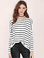 cheap -Women's T-shirt Striped Long Sleeve Round Neck Tops Basic Basic Top White Black Red