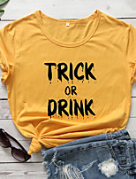 cheap -Women's Halloween T-shirt Letter Print Round Neck Tops 100% Cotton Basic Halloween Basic Top White Black Purple