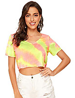 cheap -women's casual tie dye v neck short sleeve loose crop top t-shirts