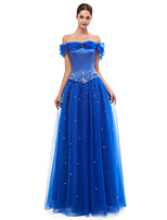 cheap -A-Line Elegant Vintage Prom Formal Evening Dress Off Shoulder Sleeveless Floor Length Tulle with Appliques 2020