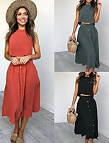 cheap -Women's Basic Solid Color Two Piece Set Cotton Tank Skirt Patchwork Tops / Loose