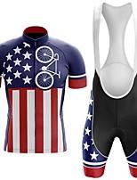 cheap -Men's Short Sleeve Cycling Jersey with Bib Shorts Red+Blue Bike Breathable Sports Mountain Bike MTB Road Bike Cycling Clothing Apparel / Triathlon
