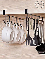 cheap -2pcs mug hooks cups wine glasses storage hooks kitchen utensil ties belts and scarf hanging hook rack holder under cabinet closet without drilling,black (1)