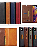 cheap -Case For iPhone11 Pro Max/11 Pro/11 /XS Max/XR /X/XS/iPhone7 8 6S 6P/iPhone 6/7/8 Card Holder / Shockproof / Magnetic Full Body Cases Solid Colored PU Leather