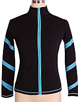 cheap -Figure Skating Fleece Jacket Women's Girls' Ice Skating Jacket Top Purple Blue Pink Stretchy Training Skating Wear Warm Crystal / Rhinestone Long Sleeve Ice Skating Winter Sports Figure Skating
