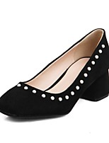 cheap -Women's Heels Block Heel Square Toe Casual Daily Pearl Solid Colored Nubuck Black / Pink