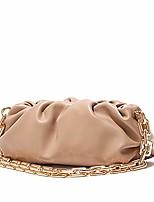 cheap -women's chain pouch bag | cloud-shaped dumpling clutch purse | ruched chain link shoulder handbag (beige)