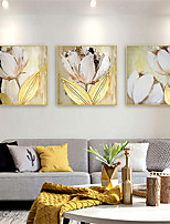 cheap -Oil Painting Hand Painted - Abstract Floral / Botanical Comtemporary Modern Rolled Canvas (No Frame)