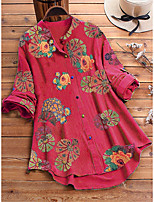 cheap -Women's Blouse Shirt Tunic Floral Flower Long Sleeve Button Print Standing Collar Tops Loose Basic Basic Top Blue Red Yellow