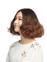 cheap -Synthetic Wig Curly Middle Part Wig Short Brown Synthetic Hair 14 inch Women's Color Gradient Middle Part Fluffy Brown