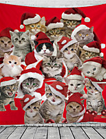cheap -Christmas Santa Claus Holiday Party Wall Tapestry Art Decor Blanket Curtain Picnic Tablecloth Hanging Home Bedroom Living Room Dorm Decoration Cute Cat Polyester