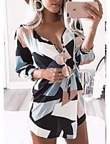 cheap -Women's A-Line Dress Short Mini Dress - Long Sleeve Geometric Print Summer V Neck Casual Loose 2020 White L XL