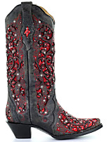 cheap -Women's Boots Cowboy Western Boots Cuban Heel Round Toe Casual Basic Daily Rhinestone PU Over The Knee Boots Walking Shoes Black / Red / White