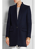 cheap -Women's Fall & Winter Single Breasted Stand Collar Coat Long Solid Colored Daily Basic Black Red Camel Navy Blue S M L XL