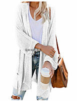 cheap -Women's Basic Long Knitted Solid Color Plain Cardigan Long Sleeve Sweater Cardigans Open Front Spring Fall White Black Blushing Pink