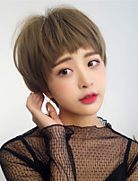 cheap -Synthetic Wig Straight Pixie Cut Wig Short Light Brown Dark Brown Synthetic Hair 12 inch Women's Fashionable Design Cute Classic Dark Brown Light Brown