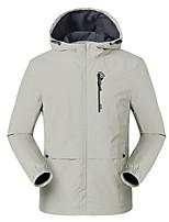 cheap -Men's Hiking Jacket Outdoor Solid Color Thermal Warm Waterproof Windproof Fleece Lining Jacket Full Length Hidden Zipper Fishing Camping / Hiking / Caving Traveling Black / Blue / Grey / Ivory