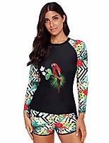 cheap -women's upf 50+ zip front long sleeve rashguard swimsuit tankini top sets swimwear