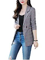cheap -women's vintage check plaid long sleeve casual long jacket blazer us 4/l,grey plaid