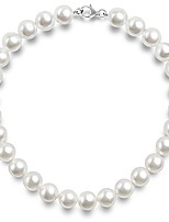 """cheap -sterling silver round white simulated shell pearl necklace strand 