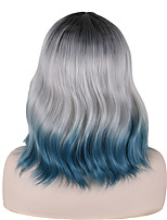 cheap -Synthetic Wig Tight Curl Middle Part Wig Short Black / Blue Synthetic Hair 14 inch Women's Party Classic Exquisite Dark Gray Blue