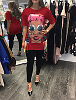 cheap -Women's T-shirt Graphic Prints Print Round Neck Tops Loose Basic Basic Top White Black Red