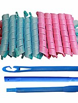 cheap -20pcs magic hair curlers spiral curls styling kit and 1 extra long styling hook for girls and women, no heat wave hair curlers for long hair (blue/pink)