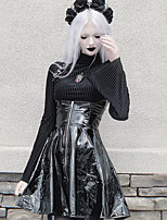 cheap -Goth Girl Gothic Goth Subculture Vacation Dress Summer Dress Party Costume Masquerade Women's Costume Black Vintage Cosplay Club Bar Sleeveless