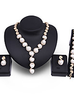 cheap -Women's White Synthetic Diamond Bridal Jewelry Sets Ball Simple Basic Elegant Earrings Jewelry Gold For Wedding Engagement 1 set