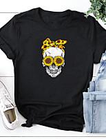 cheap -Women's Halloween T-shirt Skull Print Round Neck Tops 100% Cotton Basic Halloween Basic Top White Black Blushing Pink