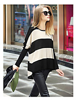 cheap -Women's Basic Knitted Color Block Pullover Cotton Long Sleeve Sweater Cardigans Crew Neck Round Neck Fall Winter White