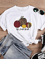 cheap -Women's Halloween T-shirt Leopard Graphic Prints Cheetah Print Print Round Neck Tops 100% Cotton Basic Halloween Basic Top White Purple Red